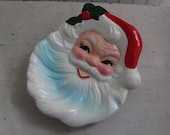 Vintage Santa Claus Face Candy Dish or Wall Plaque - 1980s Santa Face Plate for Cookies - Retro Hand Painted Santa Claus Dish, Made in Japan
