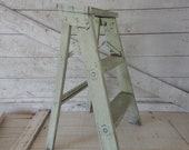 Soft Green Shabby Chic Rustic Step Stool - Painted Step Ladder - Country Farmhouse Decor - Step Stool Plant Stand - Soft Green Painted Stool