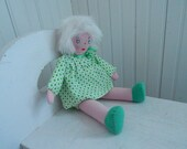 Charming Handmade Rag Doll with Green Cotton Dress and Bloomers - Hand Painted and Embroidered Face - Collectible Rag Doll - Baby Gift