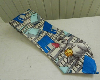 vintage 90s Computer Geek Mouse Retro PC IT Tech Head Novelty Necktie  Great Gag Gift