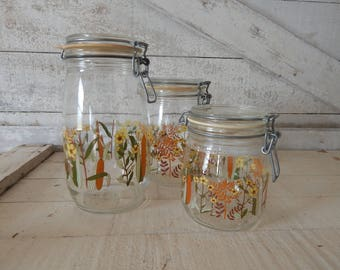 Arc Glass Canister Set With Fall Foliage Decoration   Made In France   Set  Of Three Glass Canisters   Wire Bail Glass Jars W/Rubber Seals