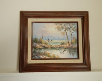 42871d18db9 Original Landscape Oil Painting of Mallard Ducks Breathtaking Lake Scene -  Framed Signed Original Oil Painting - Mid Century Modern Artwork