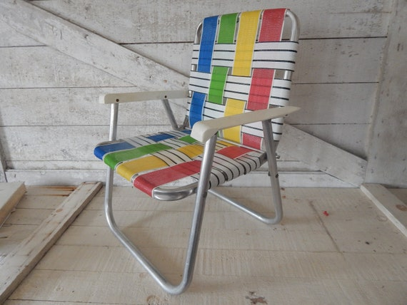 1960\'s Vintage Aluminum Lawn Chair - Child\'s Youth Size - Folding Design,  Plastic Arm Rests, Original Webbing Retro Green, Red, Blue, Yellow
