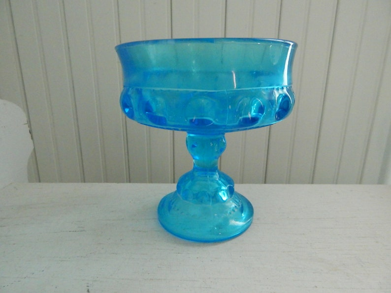 Stunning Gold-gilded Glass Pedestal Compote With Cobalt Blue Decoration Traveling Pottery & Glass