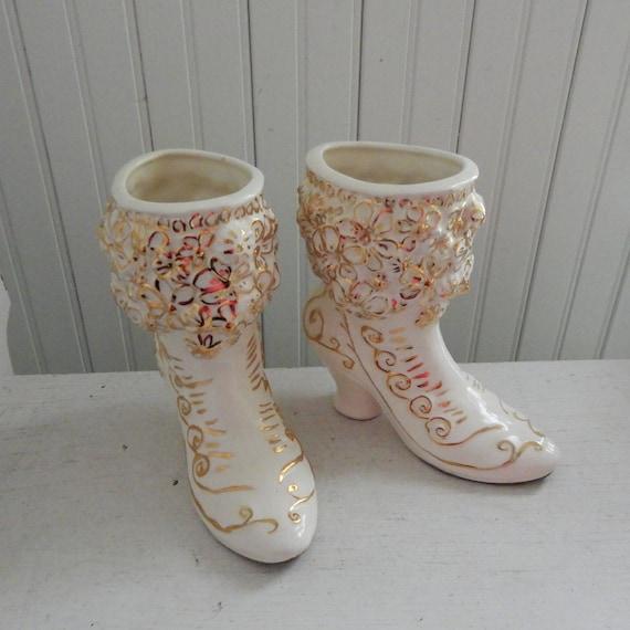 White Ceramic Victorian Women S Button Top Boot Planters Etsy
