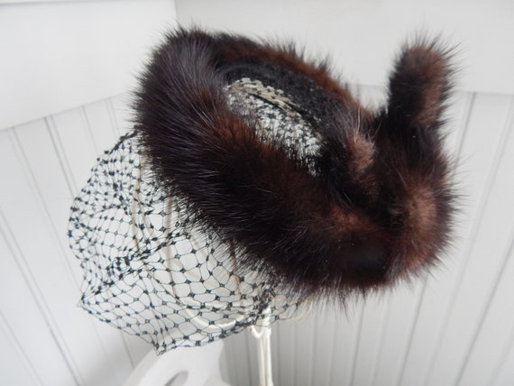 Vintage Ladies' Mink Fascinator Halo Hat - Mink H… - image 1
