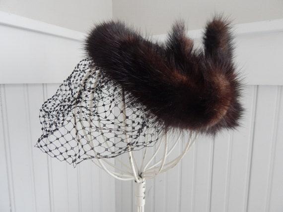 Vintage Ladies' Mink Fascinator Halo Hat - Mink H… - image 3