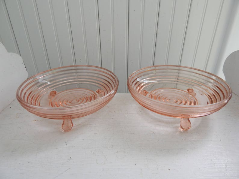 Manhattan Pink Depression Glass Condiment Serving Bowls Pink Depression Glass Candy Footed Pink Depression Glass Bowls Set of Two