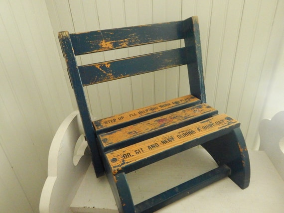 Marvelous Childs Convertible Wooden Oak Chair Step Stool Blue Chippy Paint And Stenciled With A Childs Saying Folds To A Chair Stool Or Carry Ocoug Best Dining Table And Chair Ideas Images Ocougorg