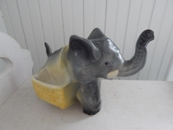 Large Elephant Art Pottery Ceramic Planter Grey And Yellow Etsy