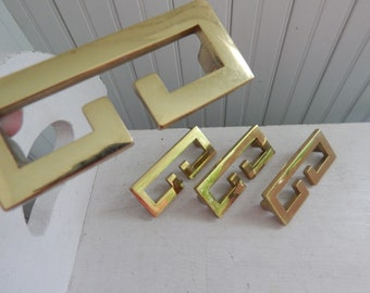 Vintage Brass Drawer Pull - Mid Century Modern Brass Greek Key Styled Drawer Handles - Dresser Hardware - Set of 4 Modern Brass Drawer Pulls