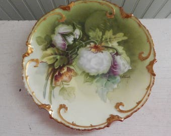 "Limoges France Hand Painted Cabinet Plate - Hand Painted Plate - Artist Signed ""Albert"" - Limoges Exclusively for Pitkin & Brooks Chicago"