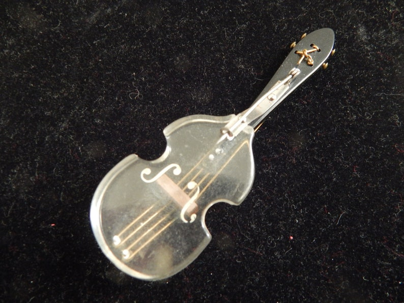 Vintage Lucite Novelty Ladies Brooch 1960s Art Plastic Lucite Violin or Guitar Pin wGold String Detailing Novelty 1960s Lucite Jewelry