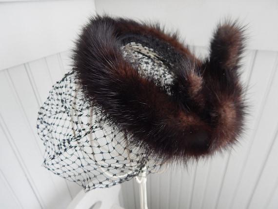Vintage Ladies' Mink Fascinator Halo Hat - Mink H… - image 10