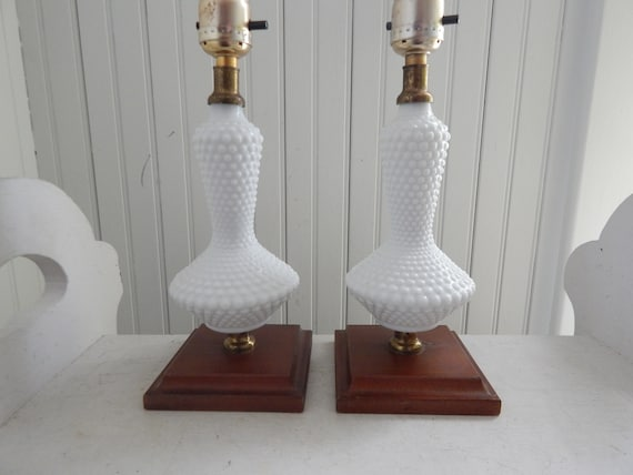 Milk Glass Hobnail and Wooden Base Boudoir Bedroom Lamps - Mid Century Milk  Glass Nightstand Lights with Wood Bases - Pair of Boudoir Lamps