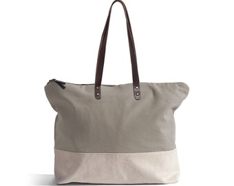 TOTE BAG large, plain. Casual, minimal, leather straps & zip - BASIC