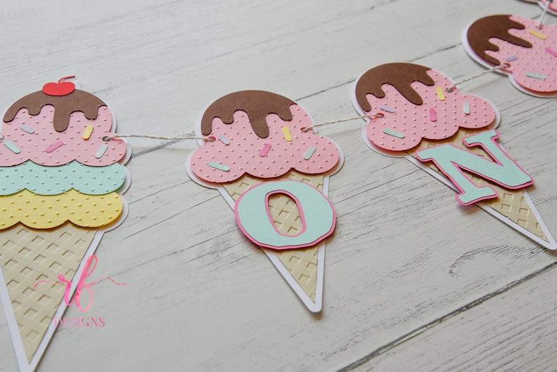 Perfect for Ice Cream theme Party! Ice Cream Birthday Banner