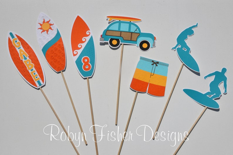Surfer Boy Birthday 7pc Centerpiece Pool or Summer Party! Surf Perfect for your Beach