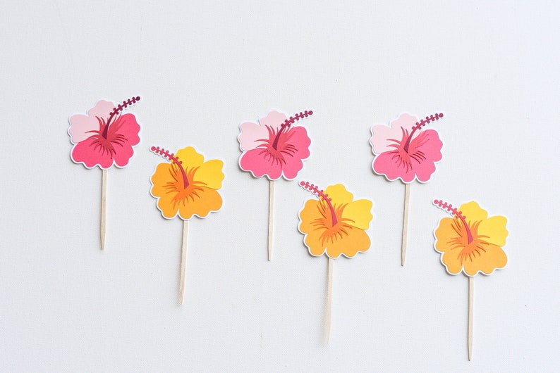Tropical Flower Hawaii Hibiscus Cupcake Toppers Perfect Etsy
