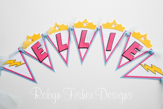 SUPERGIRL WONDER WOMAN Girl Superhero Birthday Banner