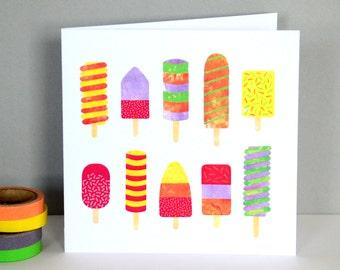 Ice Lollies Greetings Card | Kids Card | Birthday Card | Happy Birthday | Summer Card | Illustrated Greeting Card | Celebration Card