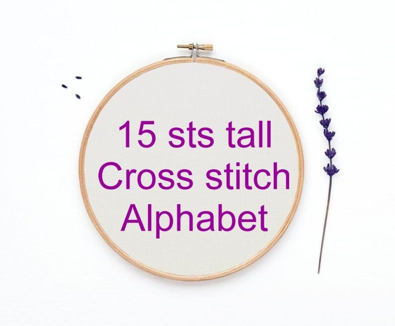 Cross stitch alphabet pattern bead weaving 15 sts tall font chart Pdf Rf:Alph83 PATTERN ONLY loom weaving hand embroidery letters