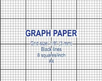 Graph paper, printable 3 mm grid, cross stitch design, 8 squares per inch, black lines, A4, instant download, PDF