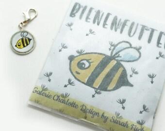 Biene, Blumensamen, Bienensamen, Bienenglück, Honigbiene, Mini Charme, Kettenanhänger, Bettelarmband, Armband, Charmes