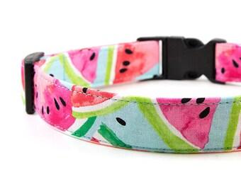 Watermelon Dog Collar // Size S-XL // Adjustable Length // Fabric: Watermelon Slice