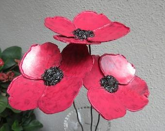 Poppy flowers etsy bouquet of three red poppy flowers metal art metal sculpture metal flowers mightylinksfo