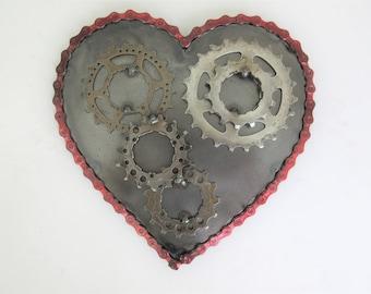 Steampunk Heart of Steel - Metal Wall Sculpture, Wall Art, Love Gift, Bicycle Art, Heart Art