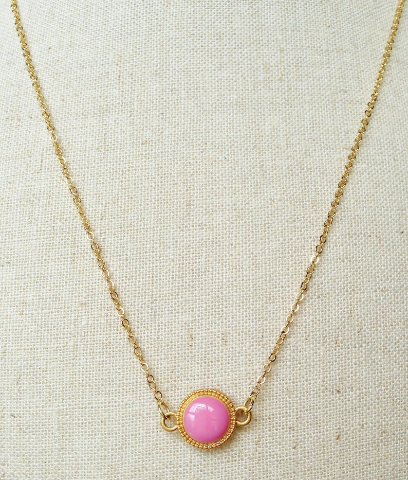 Pink Necklace Pink Circle Resin Necklace Round Shaped Pale Pink Necklace Pink Simple Necklace Retro Necklace