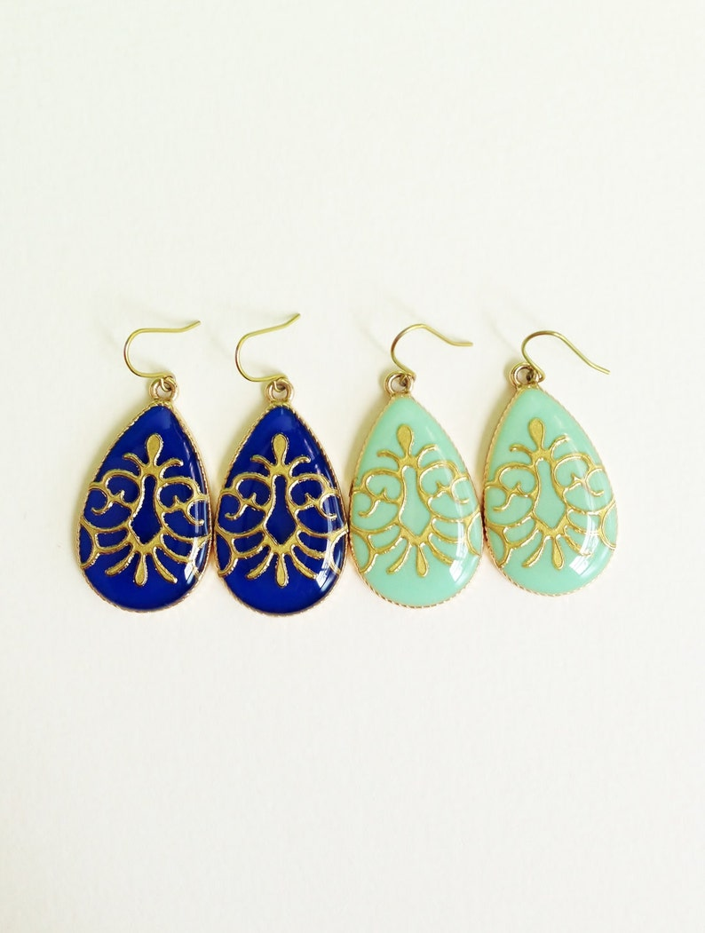 Large Green Earrings Hypoallergenic Green Resin Teardrop Turquoise Green Teardrop Earrings with Gold Arabesque Resin Jewelry For Her