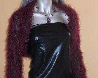 knit bolero, shrug black-red, red shawl, longsleeved shrug, fringed bolero