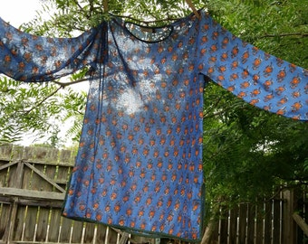 VINTAGE (60s-70s) Rare OOAK Anokhi Hand Blocked Tunic Top - Authentic Bagru Textile - Boho-hippie Chic - Ethereal Cotton Voile - SUNDARA!