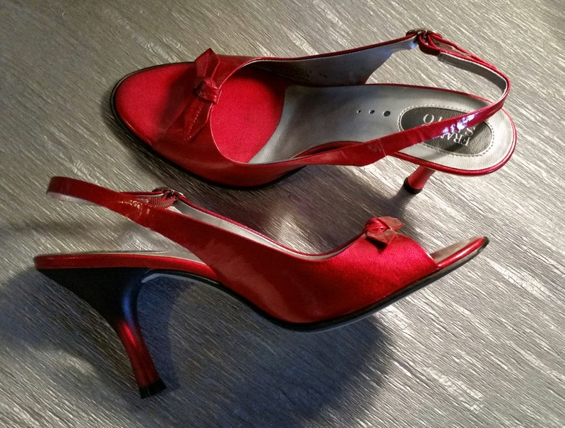 6c3297b33da VTG 2000 - FRANCO SARTO Slingbacks - Retro 1950s - Cherry Red Patent  Leather - Hot Rod/Pin Up - Peep Toe - Sexy Statement High Heels - sz: 8
