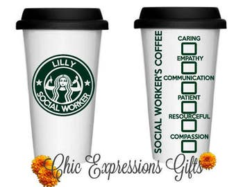 Social worker's personalized coffee travel mug - great for social worker appreciation gift, thank you,