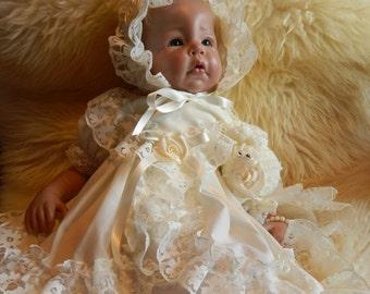 Reborn/Newborn Baby dress+hairband in   cream reborn dolls clothes silcone full body clothes