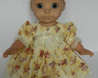 LuvaBella  Dress  in flower fairy fabric dolls outfit for baby girl doll clothes baby doll vintage doll OAAK doll