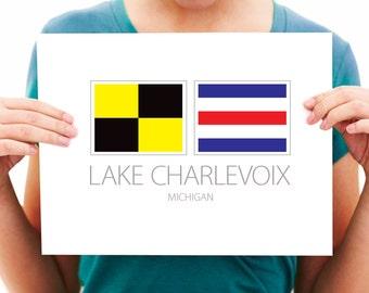 Lake Charlevoix, Michigan - Nautical Flag Art Print