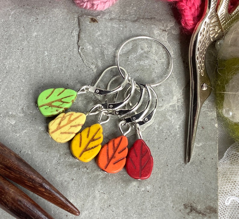 howlite beads holders keepers ready to ship Knitting Leaf stitch markers