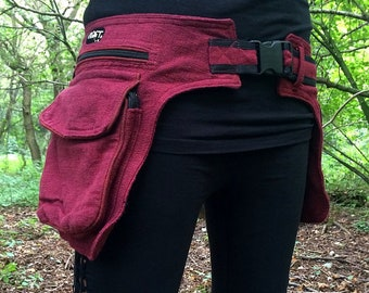 red waist bag for psychedelic events like hippie, goa and psytrance parties and festivals like burning man or ozora, hip bag, belt bag