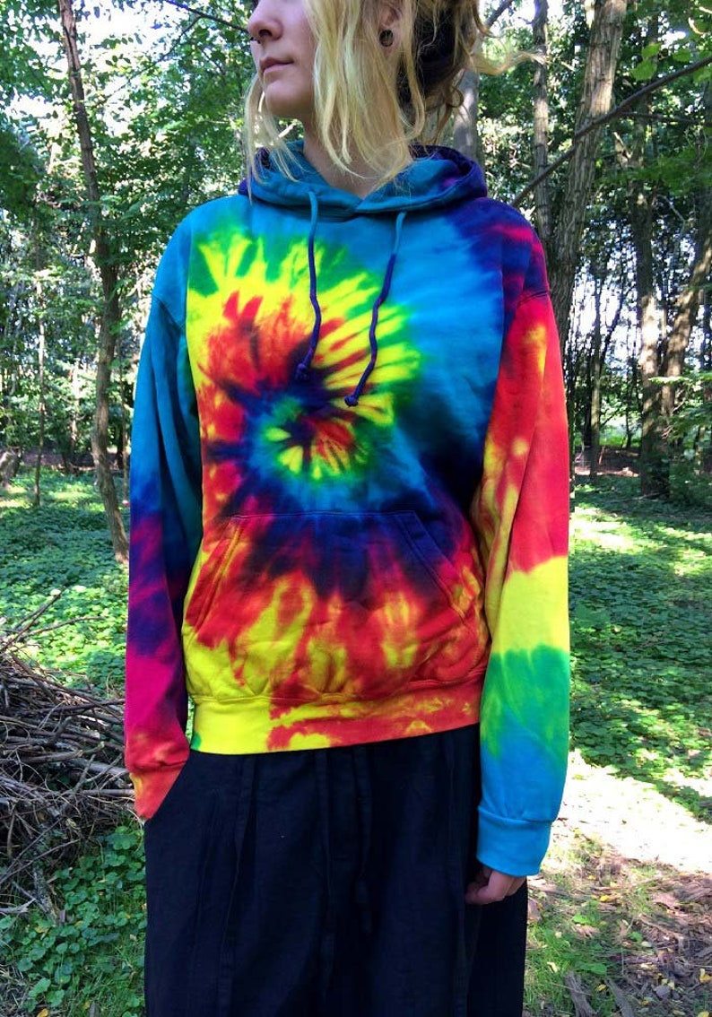 4b6466665b5 Rainbow-tie-dye-batik-hoodie-psychedelic-clothing-goa-klamotte