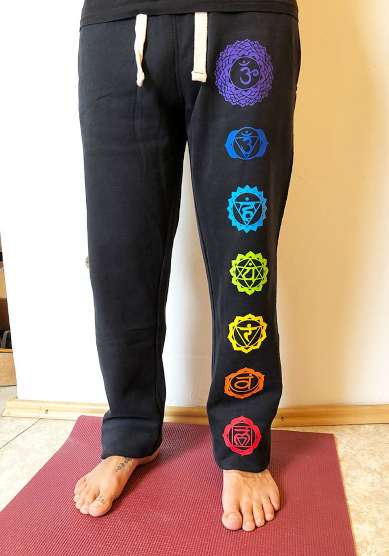 perfect trousers for yoga yoga pants black with chakra print festivals wide bloomers meditation hippie and psychedelic events