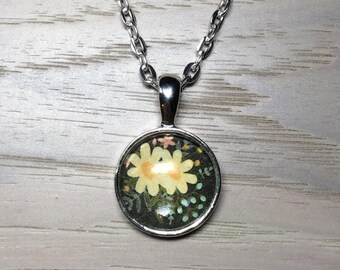 Yellow Floral - Cabochon Necklace - Mini Round Pendant Necklace - Silver Bezel and Chain