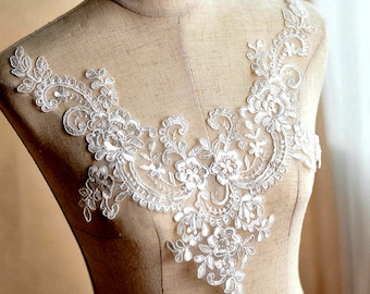 V neck rose embroidery lace applique off white sewing appliques