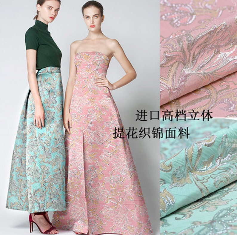 Light Pink and blue coat fabric Brocade fabric Dresses  dd6a481ee