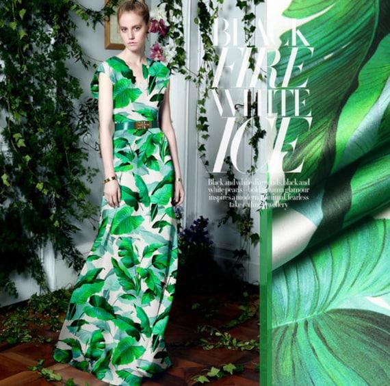 19 M M Banana Leaves Print White Silk Satin Elastic Fabrics Etsy