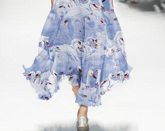 100% Mulberry silk chiffon fabric , Swan lake style Scarf beach dress fabric, Silk chiffon fabric - 135 x 50 cm-jhf