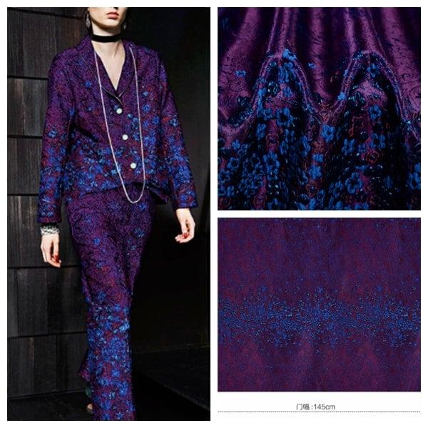 Seulement un haut tissus de qualité 3D fleur fleur 3D en tissu jacquard, violet couleur bleu jacquard, tissus Français, jacquard recto-verso, tissu Couture d8bafc